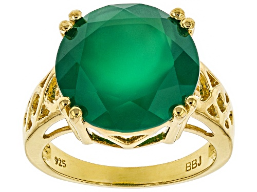 Photo of 14mm Round Green Onyx 18k Gold Over Sterling Silver Solitaire Ring - Size 9