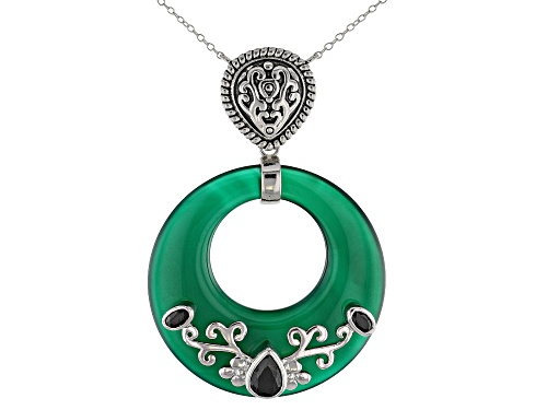 Photo of 40MM ROUND DONUT SHAPE GREEN ONYX & 1.53CTW BLACK SPINEL RHODIUM OVER  SILVER NECKLACE