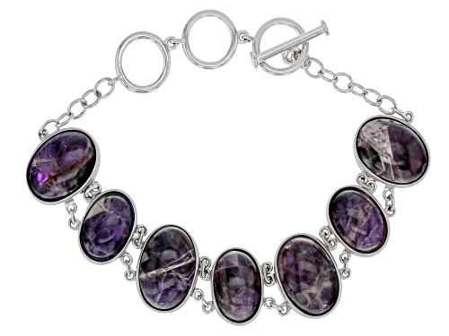 Photo of 16x12mm and 14x10mm Oval Chevron Amethyst Rhodium Over Sterling Silver Bracelet - Size 7.25