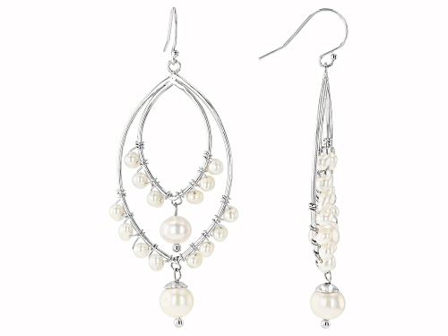 Photo of 3-7.5mm White Cultured Freshwater Pearl Rhodium Over Sterling Silver Earrings