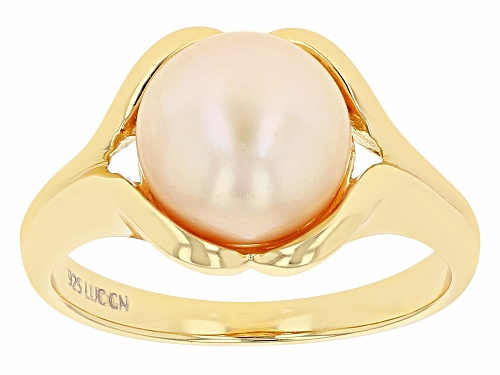 Photo of 10-11mm Golden Cultured Freshwater Grande Pearl 18k Yellow Gold Over Sterling Silver Ring - Size 8