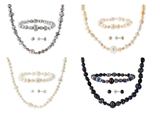 Photo of 6-7mm Multi-Color Cultured Freshwater Pearl Rhodium Over Silver (4) Necklace, Bracelet, Earring Sets