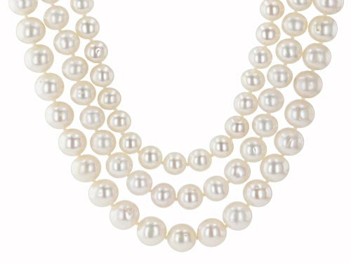 7-10mm White Cultured Freshwater Pearl 14k Yellow Gold 18 Inch Multi-Strand Necklace - Size 18