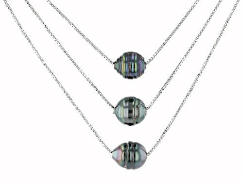 Photo of 9mm Circle Cultured Tahitian Pearl Rhodium Over Sterling Silver 3 Layer 18 Inch Necklace - Size 18