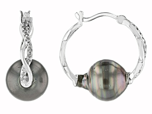 Photo of 9mm Cultured Tahitian Pearl With .14ctw Round White Topaz Rhodium Over Sterling Silver Earrings