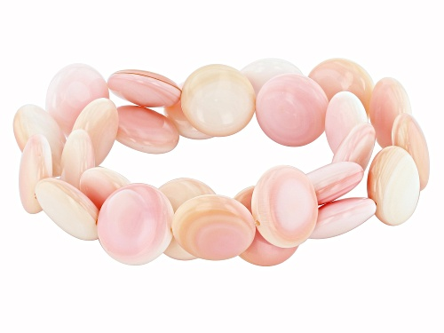 Photo of 14-15mm Pink Coin Conch Shell Stretch Bracelet Set of Two
