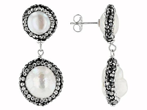 Photo of 7.5-14mm Cultured Freshwater Pearl And Diamond Simulant Rhodium Over Sterling Silver Dangle Earrings