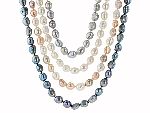 Photo of 8-10mm White, Multi-Peach, Gray & Black Cultured Freshwater Pearl 63 Inch Strand Necklace Set Of 4 - Size 63