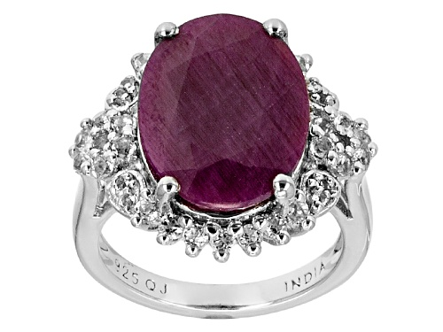 10.64ct Oval Indian Ruby With .89ctw Round White Topaz Sterling Silver Ring - Size 4