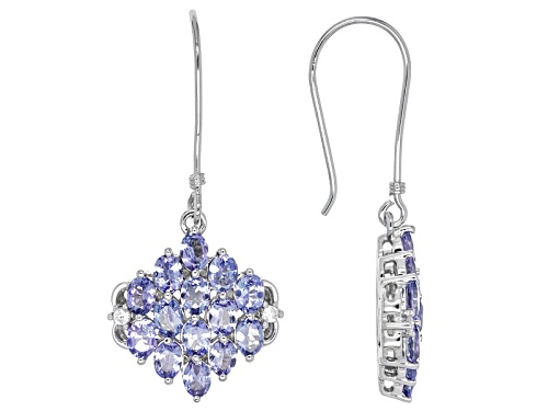 Photo of 3.02ctw Oval Tanzanite And .09ctw Round White Zircon Sterling Silver Earrings