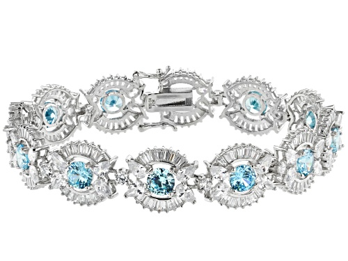 Photo of Bella Luce®45.07ctw Neon Apatite And White Diamond Simulants Rhodium Over Sterling Silver Bracelet - Size 8