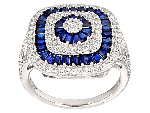 Photo of Bella Luce ® 2.62ctw Blue Sapphire And White Diamond Simulants Rhodium Over Sterling Silver Ring - Size 12