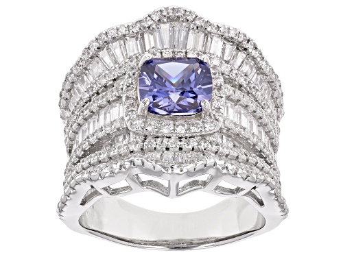 Photo of Bella Luce ® 8.58ctw Tanzanite And White Diamond Simulants Rhodium Over Sterling Silver Ring - Size 5