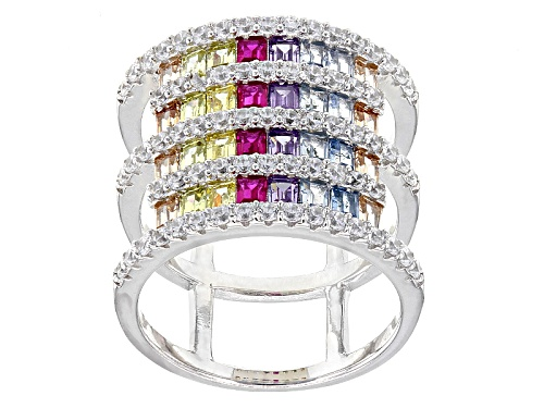 Photo of Bella Luce ® 4.42ctw Multicolor Gemstone Simulants Rhodium Over Sterling Silver Ring - Size 5