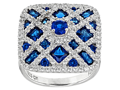 Photo of Bella Luce ® 8.09ctw White Diamond Simulant And Lab Created Blue Spinel Rhodium Over Silver Ring - Size 5