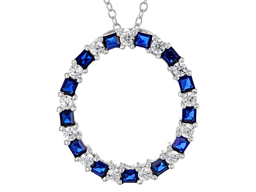 Photo of Bella Luce®1.42ctw Diamond Simulant And Lab Blue Spinel Rhodium Over Silver Pendant With Chain