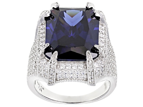Photo of Bella Luce ®Esotica ™ 17.40ctw Tanzanite And White Diamond Simulants Rhodium Over Sterling Ring - Size 5