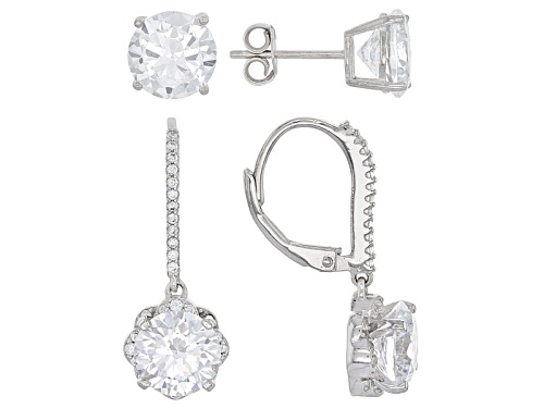 Photo of Bella Luce ® 14.36ctw Rhodium Over Sterling Silver Earrings- Set Of 2 (8.44ctw Dew)