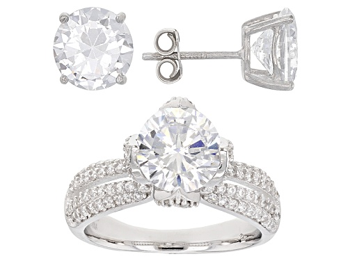 Photo of Bella Luce ® 11.59ctw Rhodium Over Sterling Silver Ring And Earrings (6.79ctw Dew)