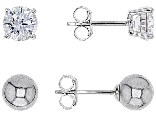 Photo of Bella Luce® 2.72ctw White Diamond Simulant and Hematine Stud Earrings- Set of 2