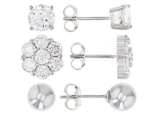 Photo of Bella Luce® 6.01ctw Rhodium Over Sterling Silver and Hematine Earrings Set