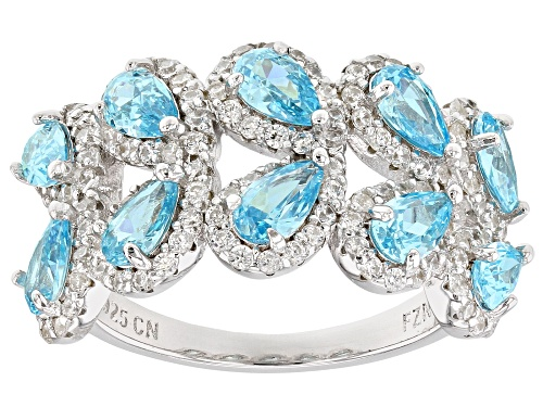 Photo of Bella Luce® Esotica ™ 4.73ctw Neon Apatite and White Diamond Simulants Rhodium Over Sterling Ring - Size 7