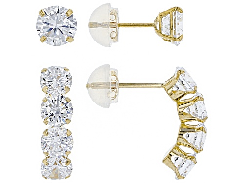 Photo of Bella Luce ® 4.77CTW White Diamond Simulant 14K Yellow Gold Earrings Set Of 2