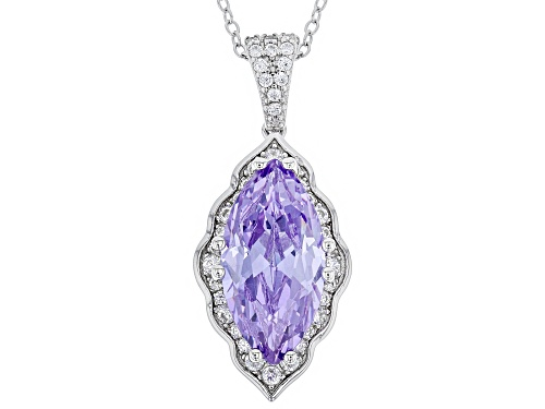 Photo of Bella Luce ® 6.76CTW Lavender & White Diamond Simulants Rhodium Over Silver Pendant With Chain