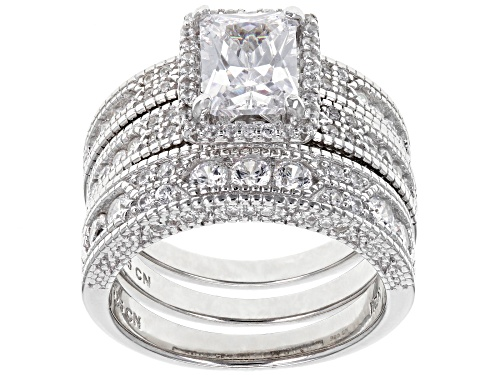 Photo of Bella Luce ® 5.00CTW White Diamond Simulant Rhodium Over Silver Ring With Bands - Size 8