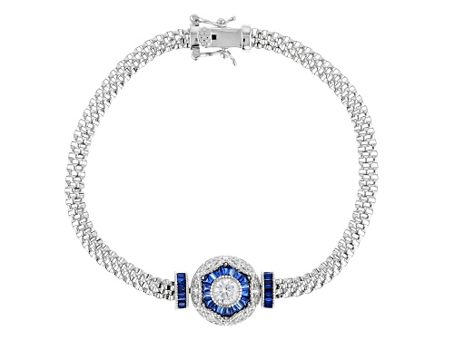 Photo of Bella Luce ® 2.42CTW Sapphire & White Diamond Simulants Rhodium Over Sterling Silver Bracelet - Size 8