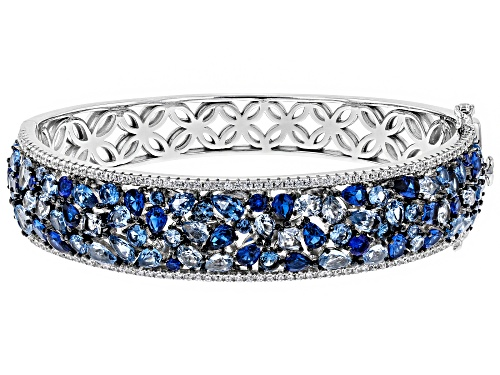 Photo of Bella Luce ® 23.26CTW Blue Sapphire & White Diamond Simulants Rhodium Over Silver Bracelet - Size 7