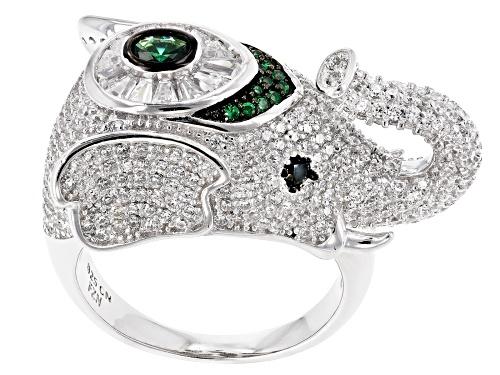 Photo of Bella Luce® 5.11ctw Emerald, Black and White Diamond Simulants Rhodium Over Silver Elephant Ring - Size 5