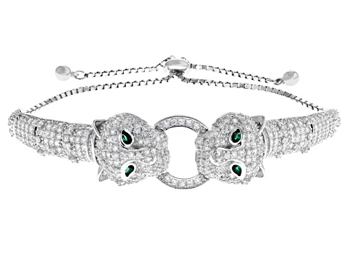 Photo of Bella Luce ® 5.88CTW Emerald & Diamond Simulants Rhodium Over Silver Adjustable Panther Bracelet