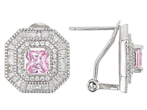 Photo of Bella Luce ® 4.70CTW Pink & White Diamond Simulants Rhodium Over Silver Earrings (3.02CTW DEW)
