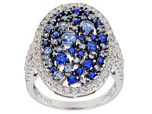 Photo of Bella Luce ® 2.99CTW Blue Sapphire, Blue & White Diamond Simulants Rhodium Over Silver Ring - Size 5