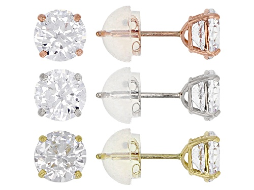 Photo of Bella Luce ® 4.51CTW White Diamond Simulant 10K Yellow, Rose, & White Gold Earrings Set Of 3