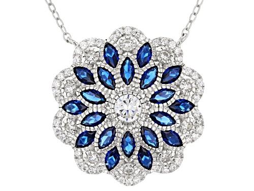 Photo of Bella Luce ® 3.87CTW Blue Sapphire & White Diamond Simulants Rhodium Over Silver Necklace - Size 18