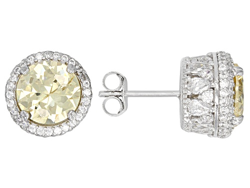 Photo of Bella Luce ® 12.24CTW Canary & White Diamond Simulants Rhodium Over Silver Earrings (7.56CTW DEW)