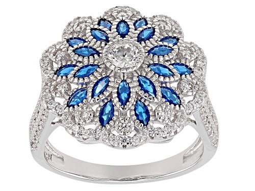 Photo of Bella Luce ® 2.21CTW Blue Sapphire & White Diamond Simulants Rhodium Over Sterling Silver Ring - Size 7