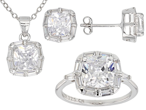 Photo of Bella Luce®10.39CTW White Diamond Simulant Rhodium Over Silver Ring Earrings&Pendant With Chain Set