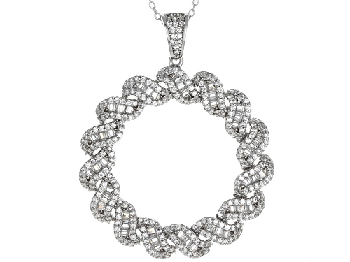Photo of Bella Luce ® 4.52CTW White Diamond Simulant Rhodium Over Sterling Silver Pendant With Chain