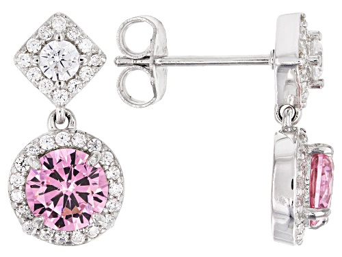 Photo of Bella Luce ® 3.84CTW Pink & White Diamond Simulants Rhodium Over Silver Earrings (2.21CTW DEW)