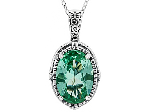 Photo of Bella Luce ® 9.38CTW Caribbean Green™ Lab Created Spinel Rhodium Over Silver Pendant With Chain