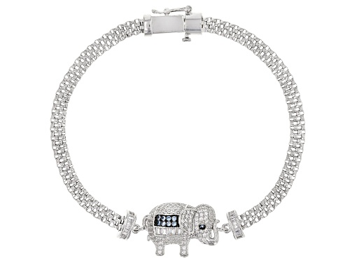 Bella Luce ® 1.86CTW White & Blue Diamond Simulants Rhodium Over Silver Elephant Bracelet - Size 7.25