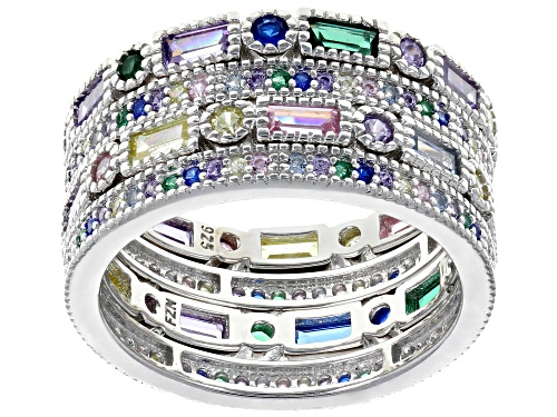 Photo of Bella Luce ® 4.10CTW Multicolor Gemstone Simulants Rhodium Over Silver Rings Set Of 4 - Size 6