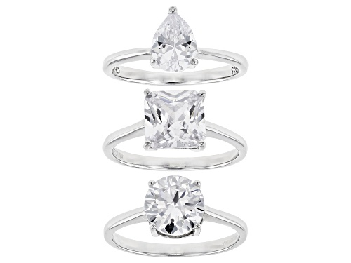 Photo of Bella Luce® 13.62ctw Rhodium Over Sterling Silver Rings- Set of 3 (6.30ctw DEW) - Size 12