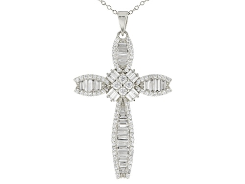 Photo of Bella Luce ® 4.55ctw Rhodium Over Sterling Silver Cross Pendant With Chain (2.80ctw DEW)