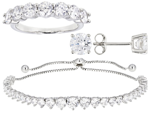 Photo of Bella Luce® 12.62ctw Rhodium Over Silver Adjustable Bracelet, Ring, And Earring Set(7.87ctw DEW)