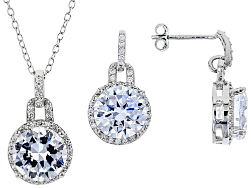 Photo of Bella Luce ® 14.11ctw Rhodium Over Silver Pendant With Chain and Earrings (8.68ctw DEW)