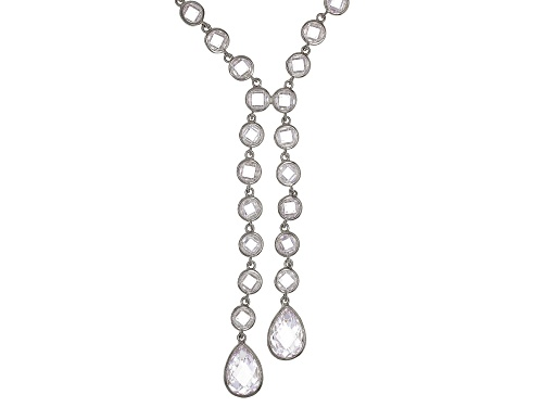 Photo of Bella Luce ® 68.58ctw White Diamond Simulant Rhodium Over Sterling Silver Y Necklace - Size 22